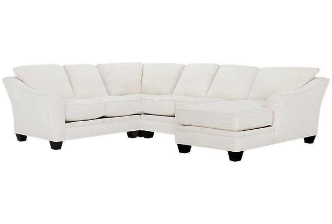 Avery White Fabric Medium Right Chaise Sectional