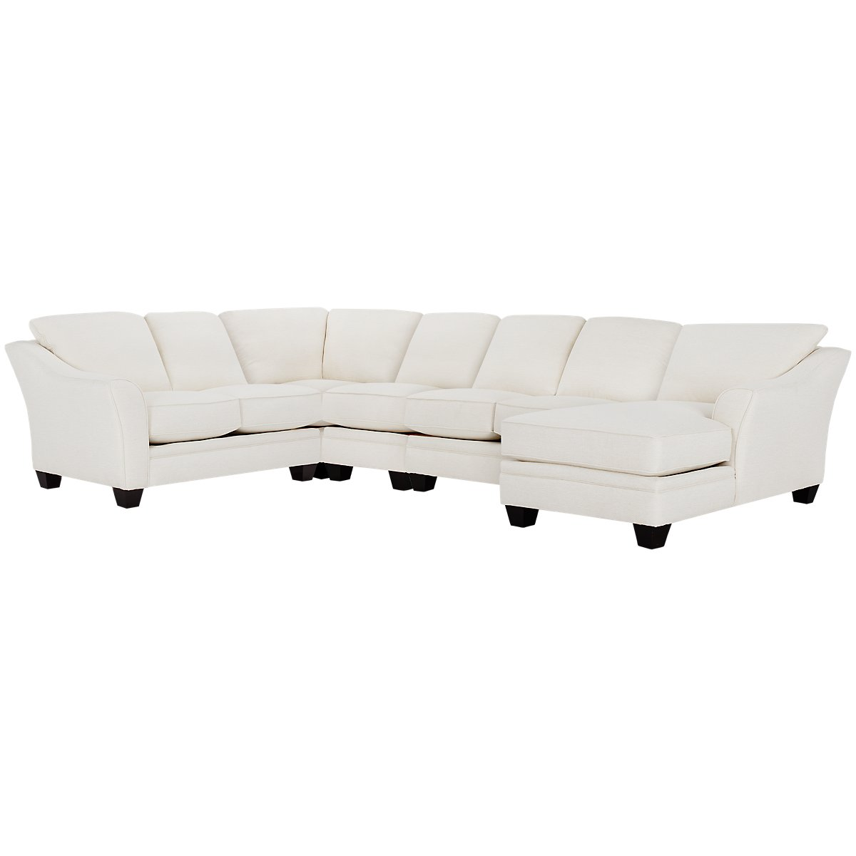 Avery White Fabric Large Right Chaise Sectional