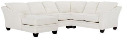 Avery White Fabric Medium Left Chaise Sectional