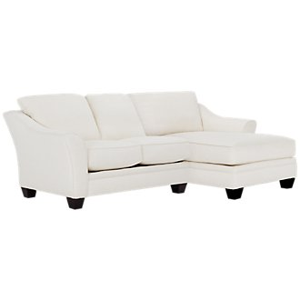 Avery White Fabric Right Chaise Sectional