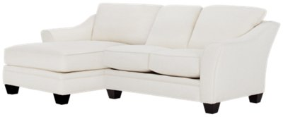 Avery White Fabric Left Chaise Sectional