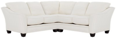 Avery White Fabric Small Two-Arm Sectional