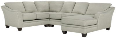 Avery Light Green Fabric Medium Right Chaise Sectional