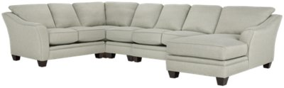 Avery Light Green Fabric Large Right Chaise Sectional