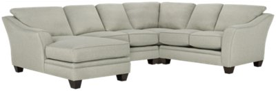 Avery Light Green Fabric Medium Left Chaise Sectional