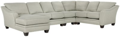 Avery Light Green Fabric Large Left Chaise Sectional
