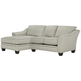 Avery Light Green Fabric Left Chaise Sectional