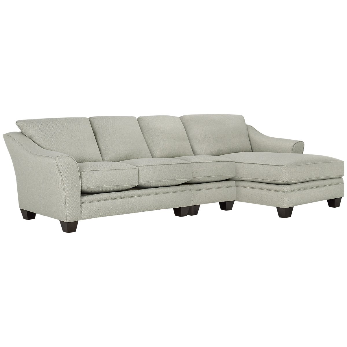 Avery Light Green Fabric Small Right Chaise Sectional