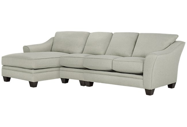 Avery Light Green Fabric Small Left Chaise Sectional