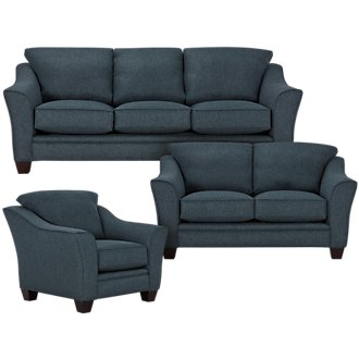Avery Dark Blue Fabric Living Room