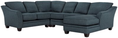 Avery Dark Blue Fabric Medium Right Chaise Sectional