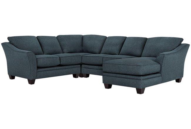 Avery Dark Blue Fabric Medium Right Chaise Sectional