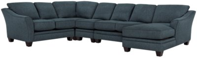 Avery Dark Blue Fabric Large Right Chaise Sectional
