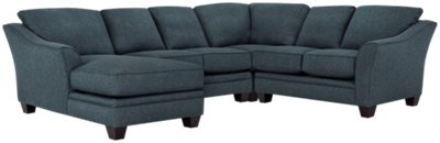 Avery Dark Blue Fabric Medium Left Chaise Sectional