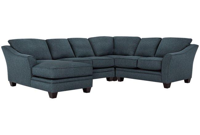 Avery Dark Blue Fabric Medium Left Chaise Sectional