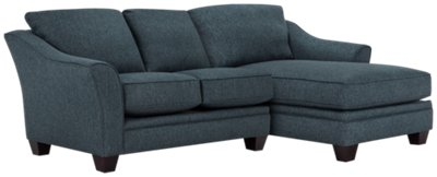 Avery Dark Blue Fabric Right Chaise Sectional