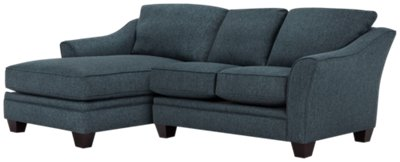 Avery Dark Blue Fabric Left Chaise Sectional