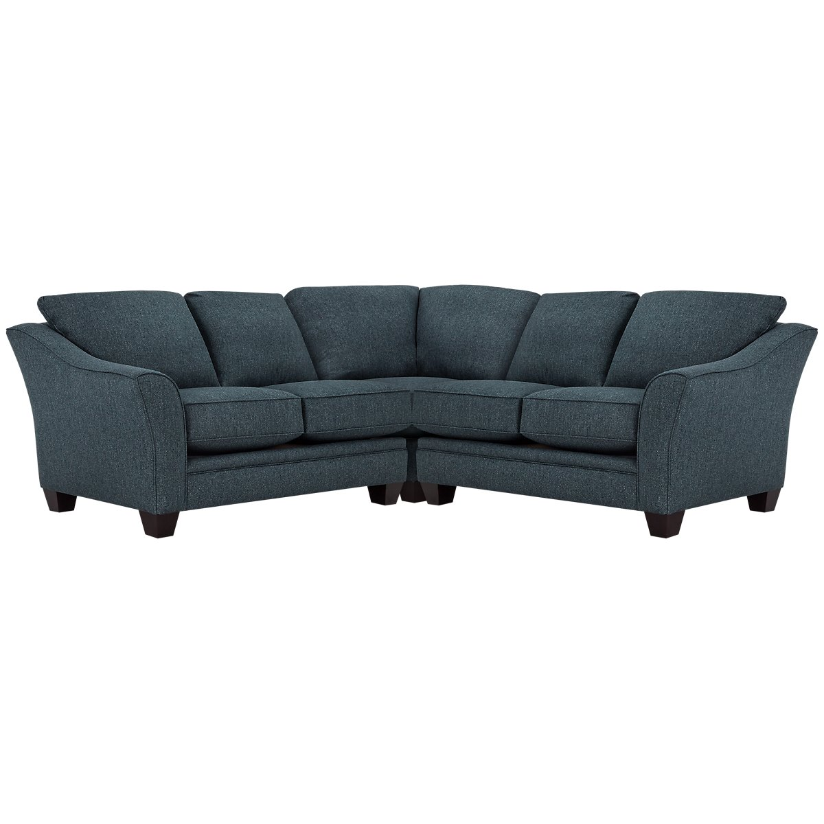 Avery Dark Blue Fabric Small Two-Arm Sectional