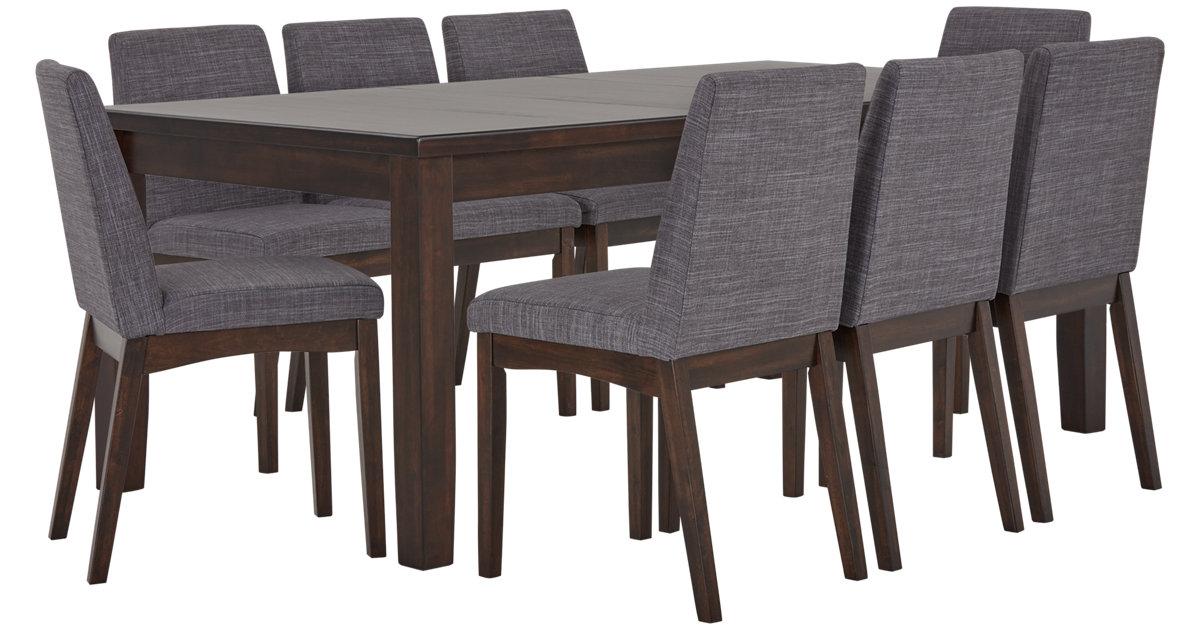 City Furniture Hayden Dark Gray Rectangular Table 4 Upholstered Chairs