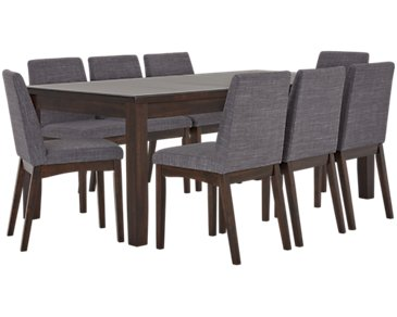 Hayden Dark Gray Rectangular Table & 4 Upholstered Chairs
