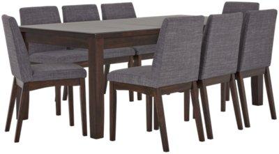 Hayden Dark Gray Rectangular Table U0026 4 Upholstered Chairs