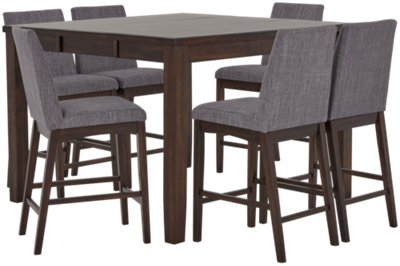 Gray kitchen table Beachy Hayden Dark Gray Wood High Table Upholstered Barstools Ethan Allen Dining Room Sets Table Chair Sets City Furniture
