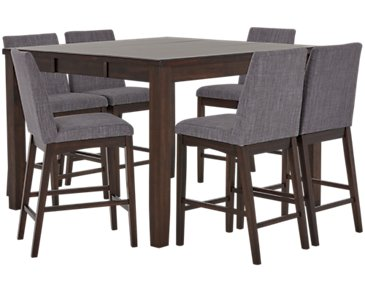 Hayden Dark Gray High Table & 4 Upholstered Barstools
