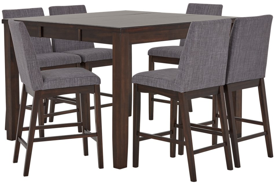 Groovy Hayden Dark Gray High Table 4 Upholstered Barstools Ibusinesslaw Wood Chair Design Ideas Ibusinesslaworg