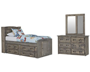 Cinnamon Gray Bookcase Storage Bedroom