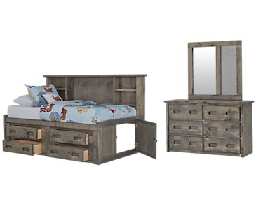 Cinnamon Gray Bookcase Daybed Storage Bedroom