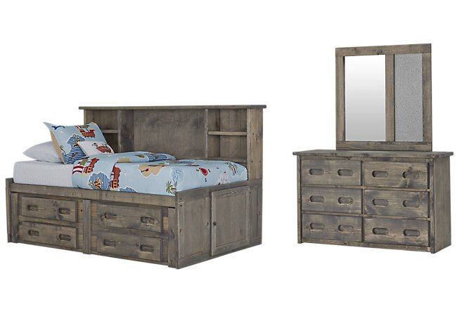 Cinnamon Gray Wood Bookcase Daybed Storage Bedroom