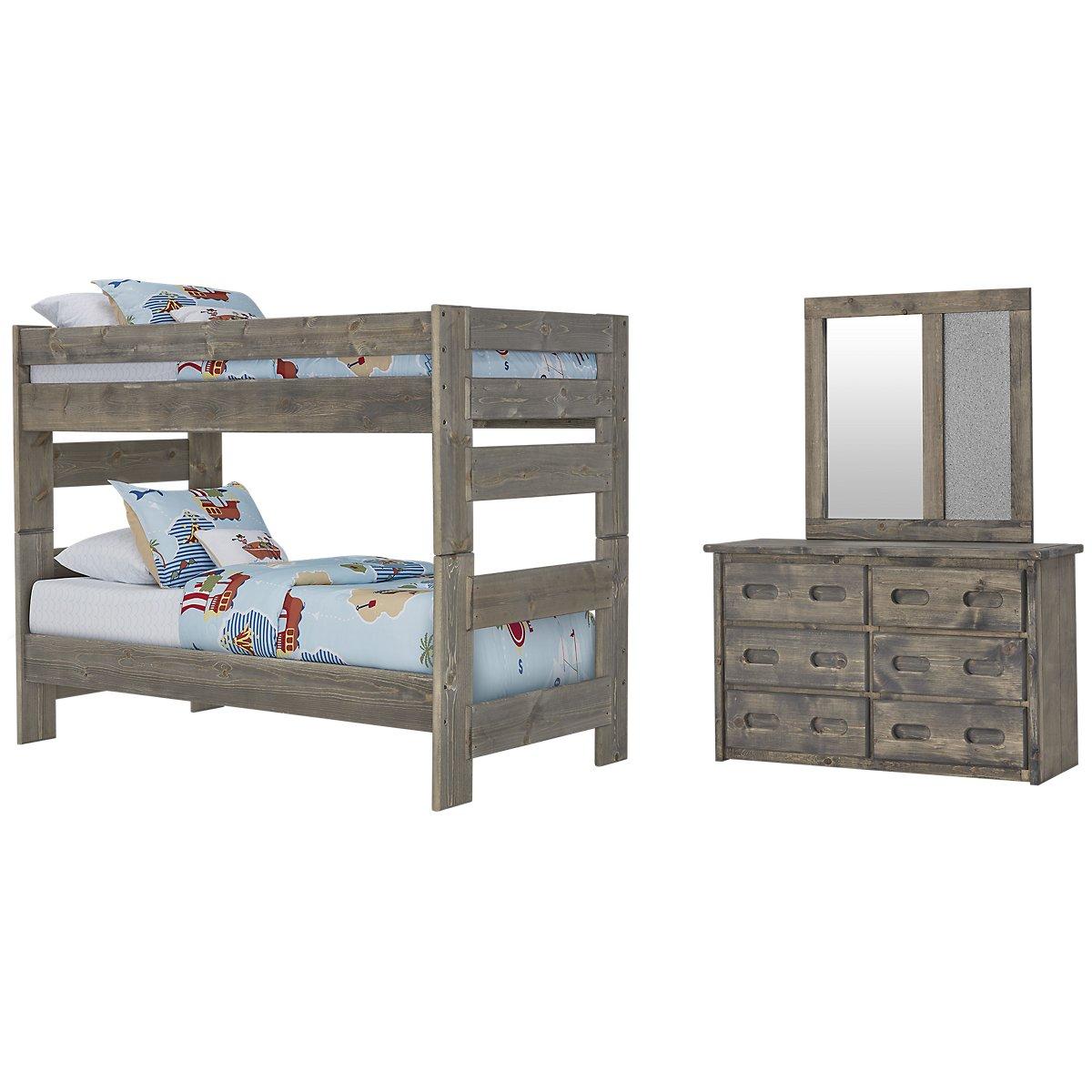 Cinnamon Gray Wood Bunk Bed Bedroom