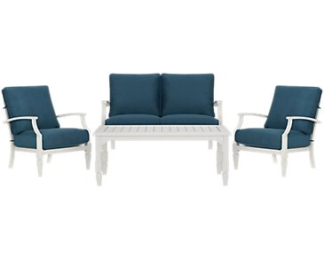 Charleston White Outdoor Chat Set