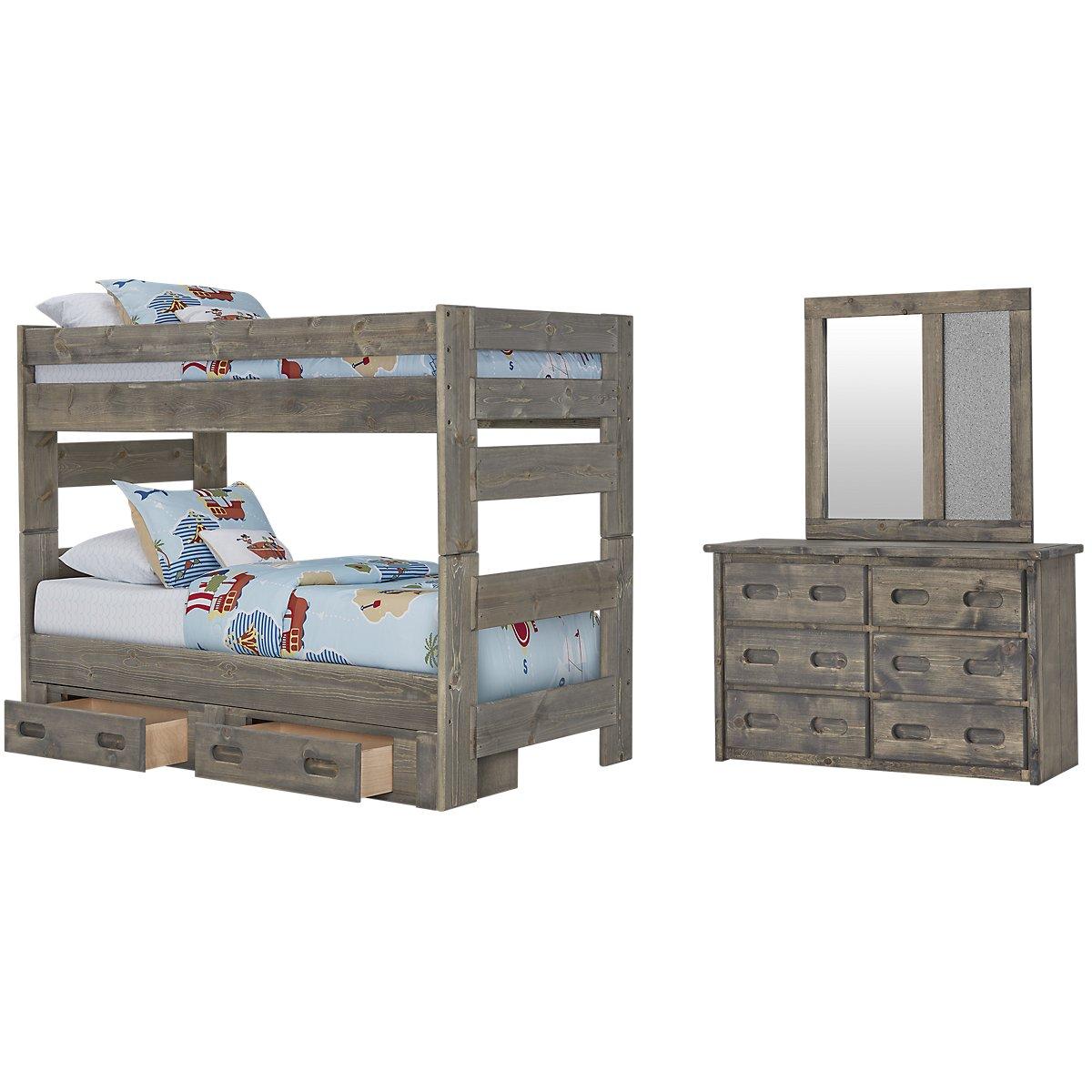 Cinnamon Gray Wood Bunk Bed Storage Bedroom