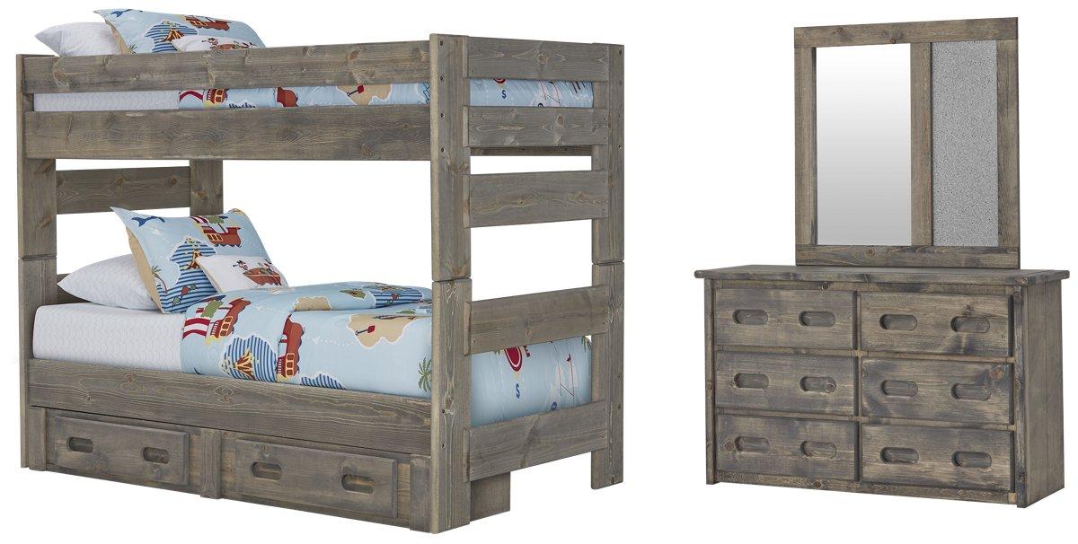 City Furniture Cinnamon Gray Bunk Bed Storage Bedroom