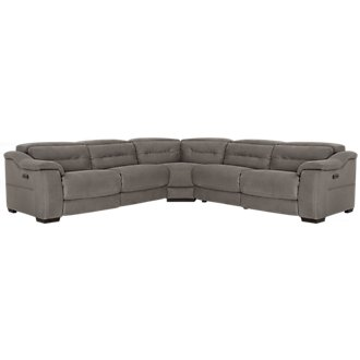 Kent Dark Gray Microfiber Small Dual Power Reclining Two-Arm Sectional