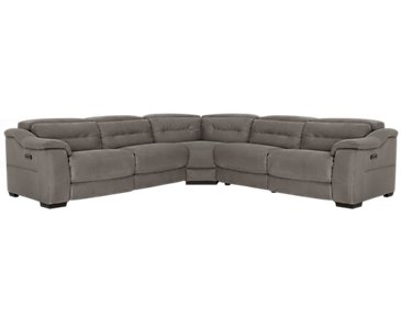 Kent Dark Gray Microfiber Left Small Tri Power Reclining Two-Arm Sectional
