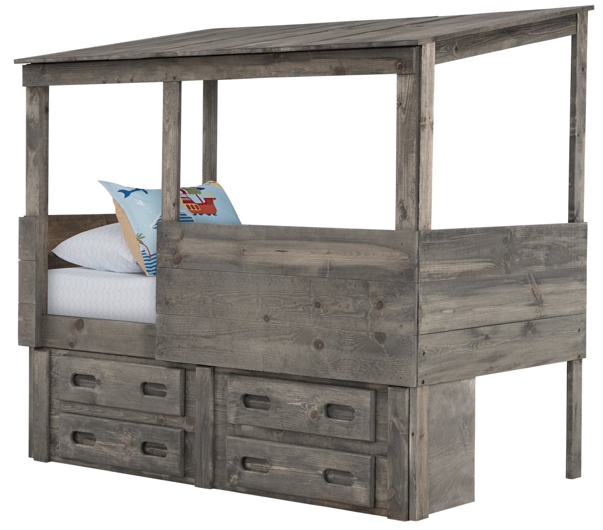 Cinnamon Gray Wood Captains Bed