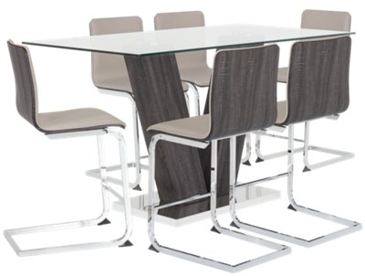 Kendall Glass High Table & 4 Upholstered Barstools