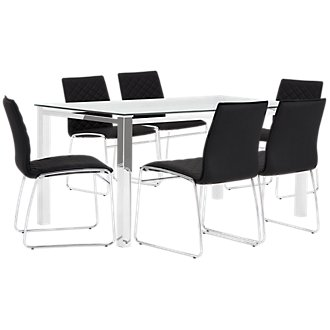 Skyline Black Rectangular Table & 4 Metal Chairs