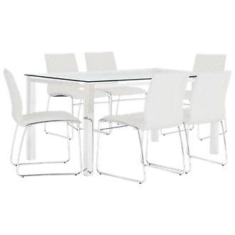 Skyline White Rectangular Table & 4 Metal Chairs