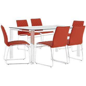 Skyline Orange Rectangular Table & 4 Metal Chairs