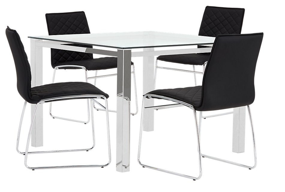 Skyline BLACK SQUARE Table & 4 Metal Chairs | Dining Room ...