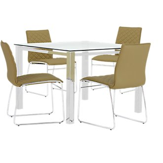Skyline Light Green Square Table & 4 Metal Chairs