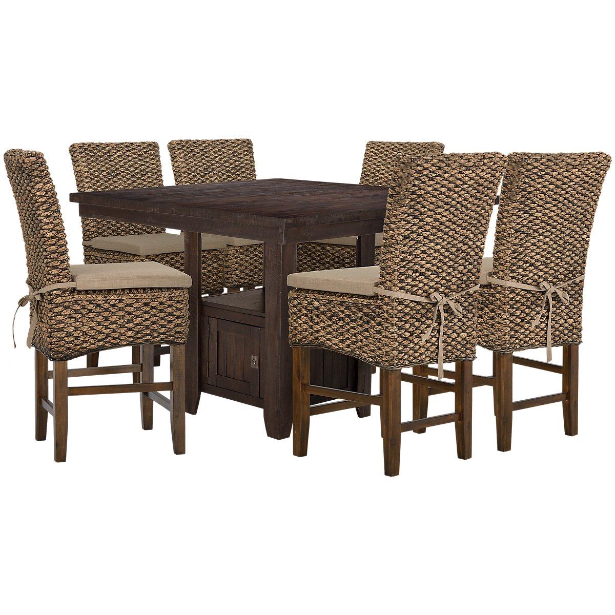 Kona Grove Dark Tone Wood High Table & 4 Woven Barstools