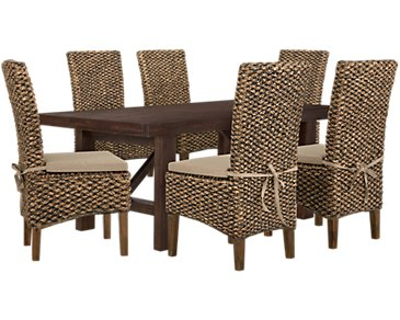 Kona Grove Dark Tone Rectangular Table & 4 Cushioned Woven Chairs