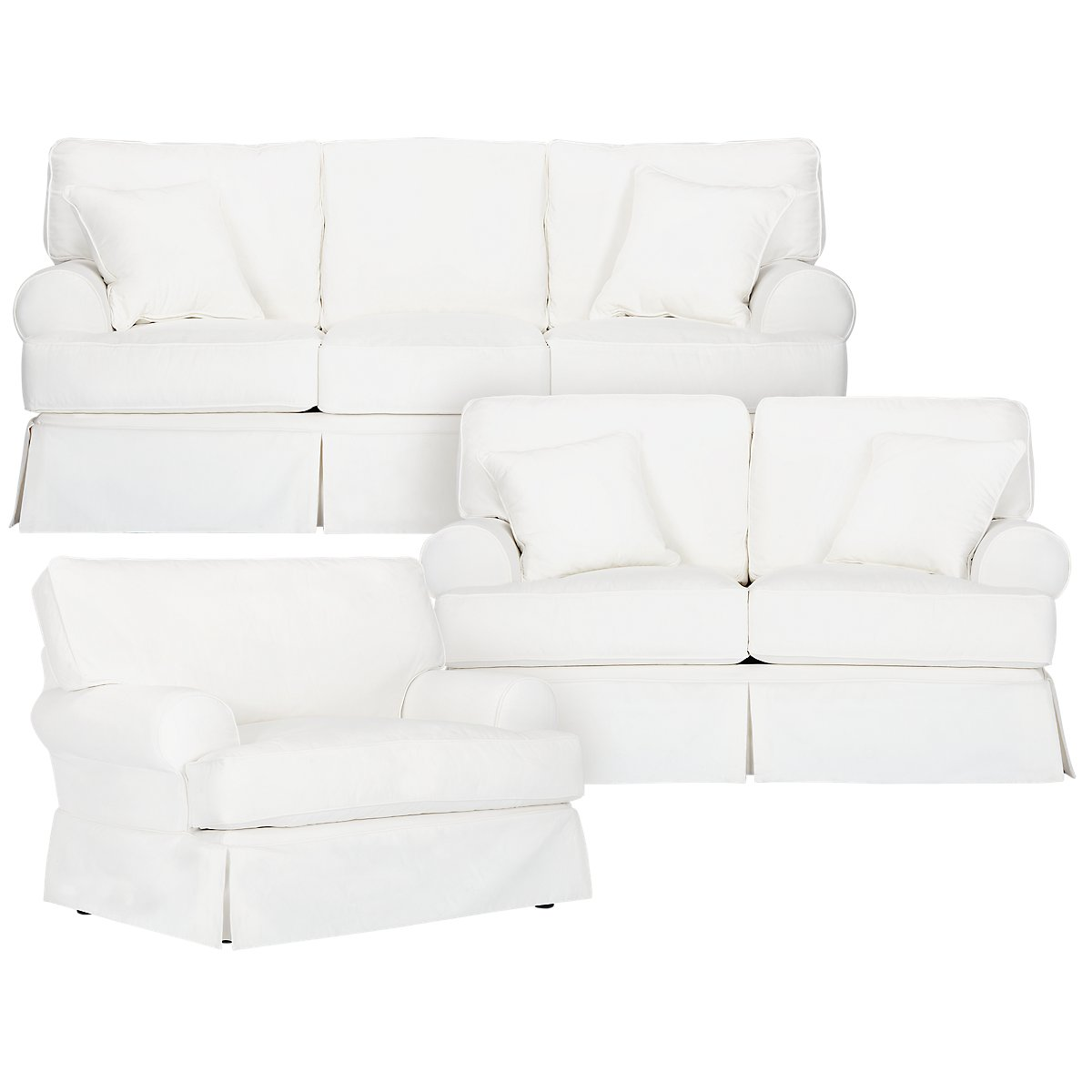 Harris White Fabric Sofa. VIEW LARGER