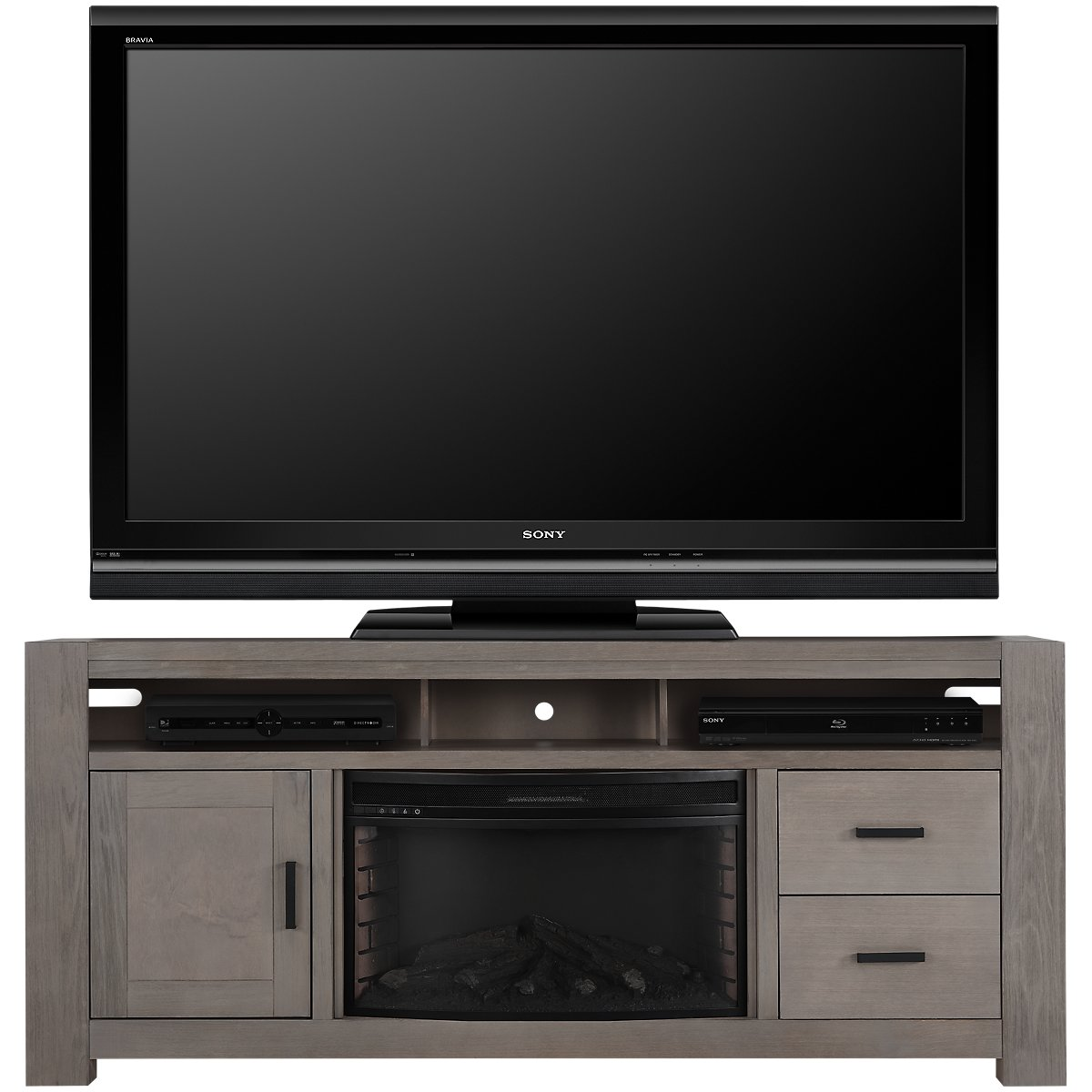 "Empire Light Tone 84"" TV Stand with Fireplace Insert"