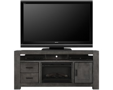 "Empire Gray 72"" TV Stand with Fireplace Insert"