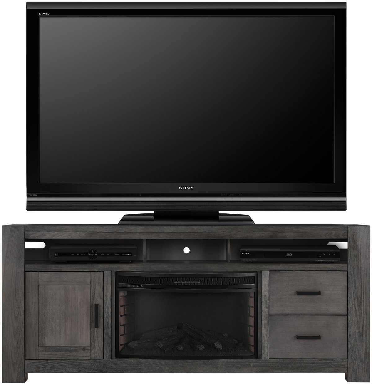 """Empire Gray 84"""" TV Stand with Fireplace Insert"""